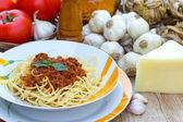 Spaghetti bolognese on the table — Stock Photo