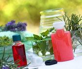 Spa-behandling (aromaterapi) - aromatiska, eterisk olja — Stockfoto