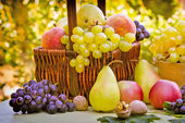 Fresh fruits in wicker basket on a table — Stock Photo