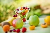 Fruit salad prepared with organic fruits — Stock Photo