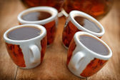 Cups with fresh coffee — Stock Photo