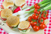 Small sandwiches on a table — Stockfoto