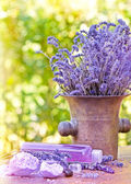 Lavender oil and lavender soap (Spa concept -Spa treatment) — Stock Photo
