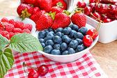 Fresh organic berry fruits - strong antioxidants — Stock Photo