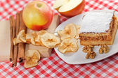 Apple strudel - apple cake on white plate for dessert — Stock Photo