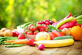 Healthy food - organic fruits and vegetables — Stock Photo