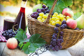 Autumn harvest - Grapes and red wine — Stockfoto