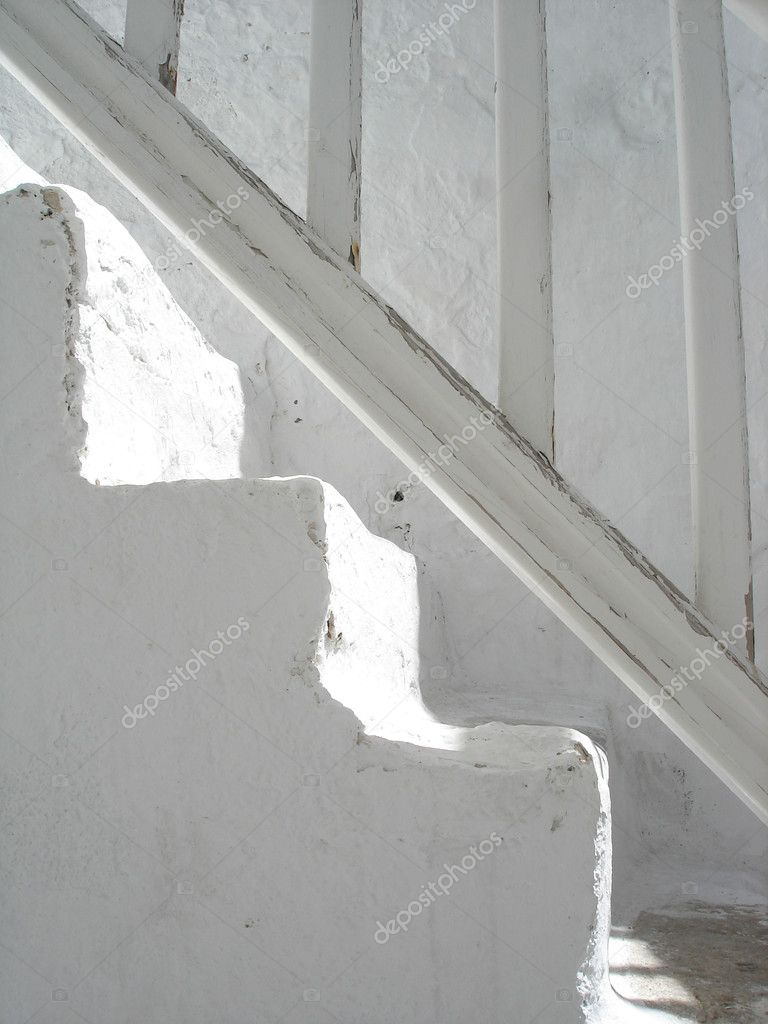  Sunlit bright white traditional steps in Mykonos, Greece                                Stock Photo #18748253