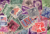 Old US stamps collection — Stock Photo
