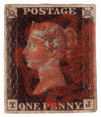 Penny Black First World postage stamp — 图库照片
