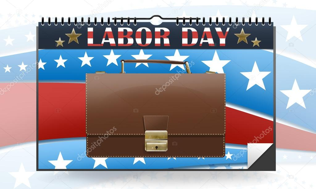 Labor day calendar with briefcase and colors from the uniteds states flag.   Stock Photo #12606980