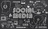 Mídias sociais no quadro-negro — Fotografia Stock
