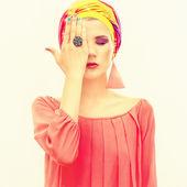 Bright portrait of a stylish woman — Stock Photo