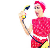 Funny angry retro girl — Stock Photo