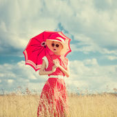 Girl in retro style Outdoors — Stock Photo