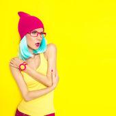 Portrait of a bright stylish girl — Zdjęcie stockowe