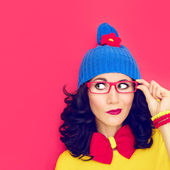 Thinking funny girl — Fotografia Stock