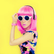 Bright fashion girl music style — Stock Photo