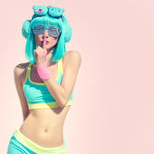Crazy music party girl — Stock Photo