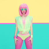 Fashion girl portrait. Bright funky style — Stock Photo