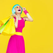 Shopping crazy girl — Stock Photo