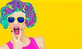 Crazy glamorous lady — Stock Photo