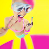 Motion crazy party girl — Stock Photo