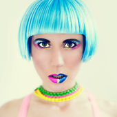 Colorful make-up style girl — Stock Photo