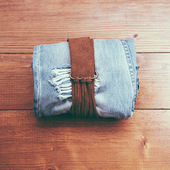 Vintage belt and jeans — Stock Photo