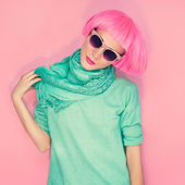 Fashion glamor girl on a pink background wall. urban style — Stock Photo