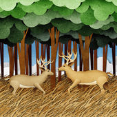 Deer made from recycled paper craft background — Stock Photo