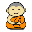 Wektor stockowy : Buddhist monk cartoon