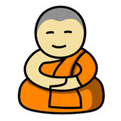 Buddhist monk cartoon — Stock Vector