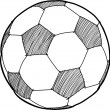 Hand writing soccer ball ( Football ) cartoon . - Vettoriali Stock