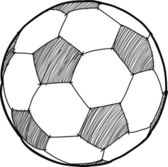 Hand writing soccer ball ( Football ) cartoon . — Stock vektor