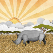Rhino recycled paper craft background - Stock Photo