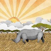 Rhino recycled paper craft background — Stock Photo