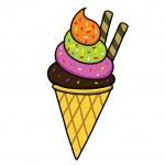 Ice cream Hand writing cartoon. — Stock Vector