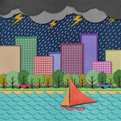 City view recycled paper craft Background — Stock Photo