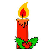 Christmas candle cartoon — Stock Vector