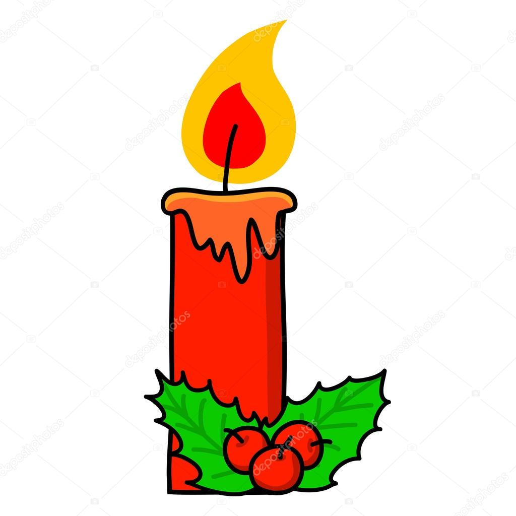 Weihnachten-Kerze-cartoon — Stockvektor © kanate #13428118