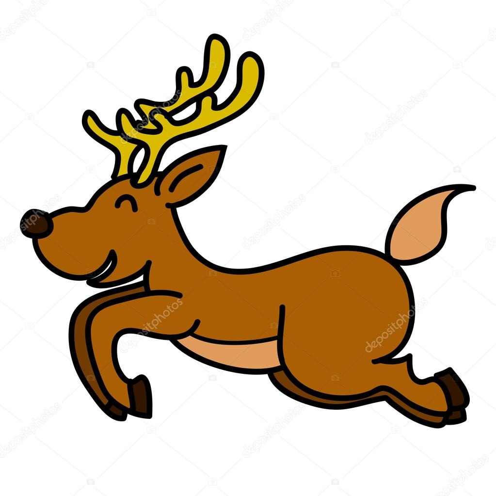 Reindeer hand writing cartoon. vector — Stock Vector #13535306
