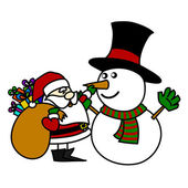 Cartoon Santa Claus and snowman. — Stock Vector