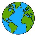 Planet earth hand writing cartoon. ( credit : nasa) — Stock Vector