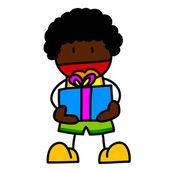 Child and gift hand writing cartoon. — Stock Vector