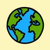 Рука планеты Земля написание мультфильма. (кредит: Наса) — Cтоковый вектор