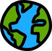 Planet earth hand writing cartoon. ( credit : nasa) — Stok Vektör