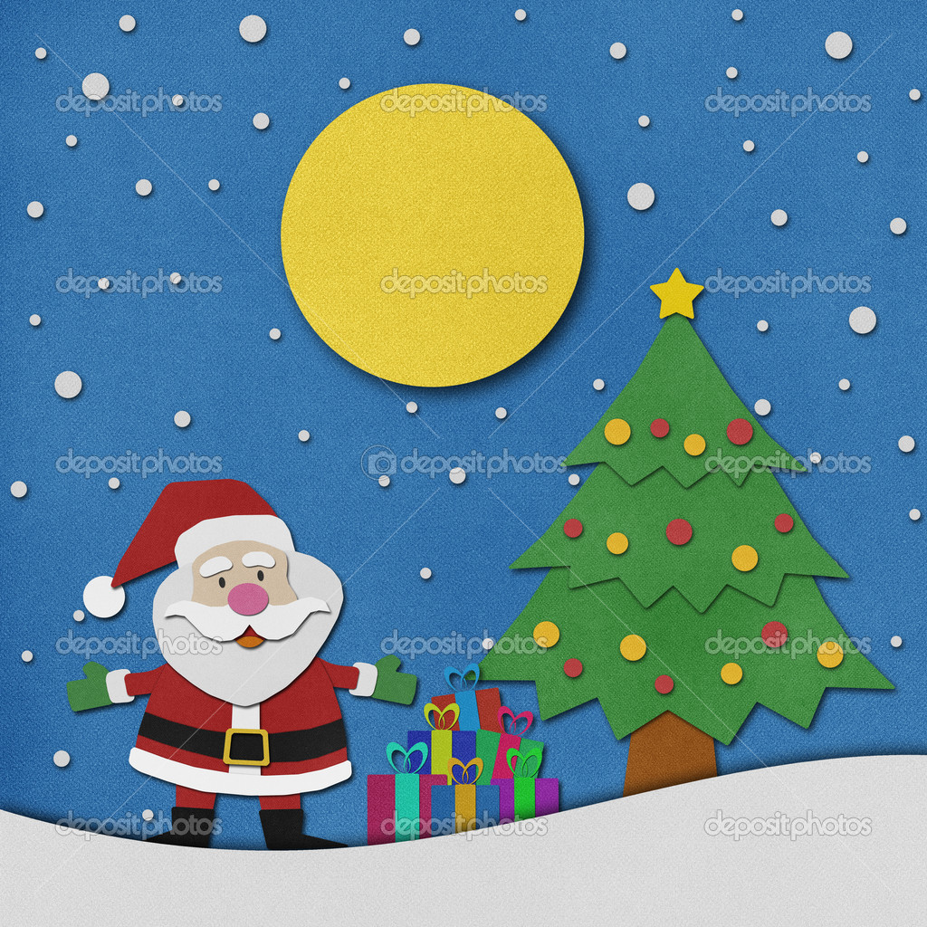 Santa claus recycled paper craft on paper background. — Stock Photo ...