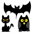 Vector illustrations - Halloween Set of Three: Bat, Owl, Cat - Stock Vector