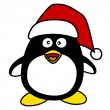 Penguin vector illustration with red hat on white — Imagen vectorial